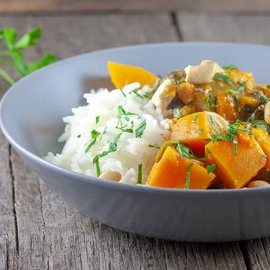 Pompoen curry met spinazie