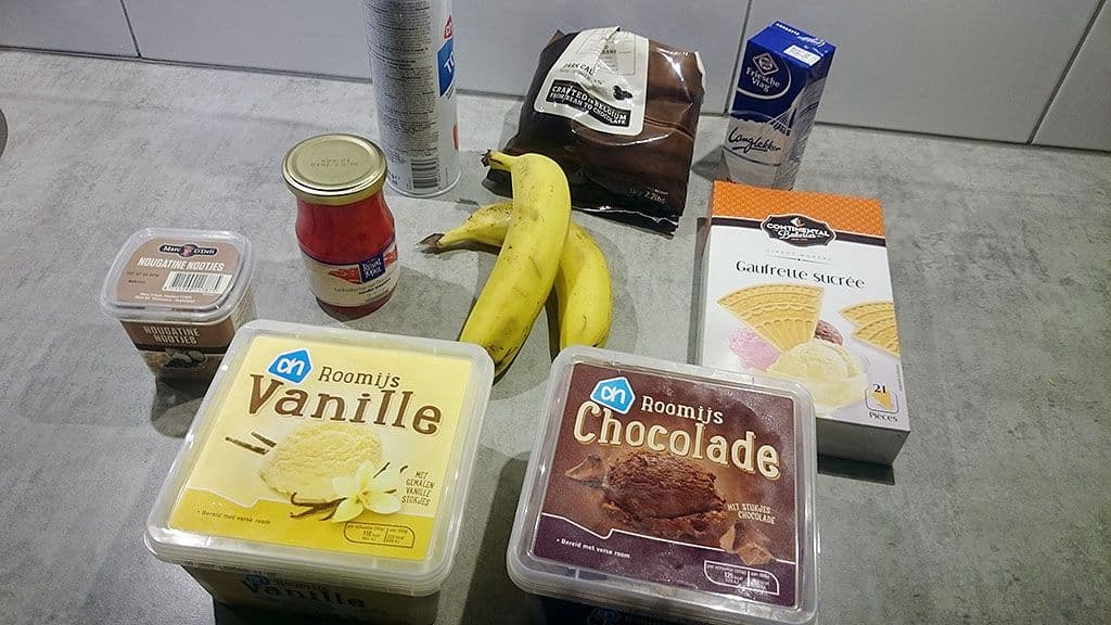 Bananen split ingredienten