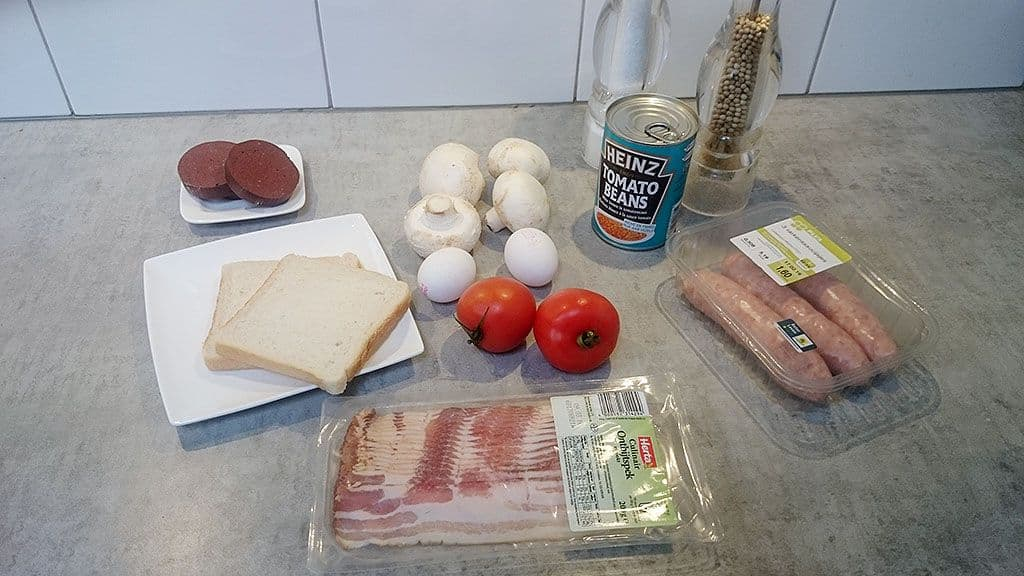 Engels ontbijt ingredienten - Engels ontbijt (Full English breakfast)