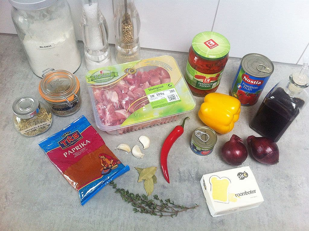 Slowcooker varkensgoulash ingredienten - Slowcooker varkensgoulash