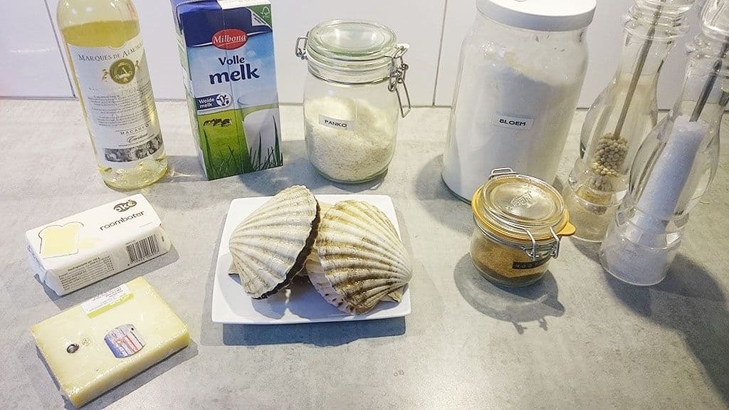 Verse coquilles in bechamel saus ingredienten