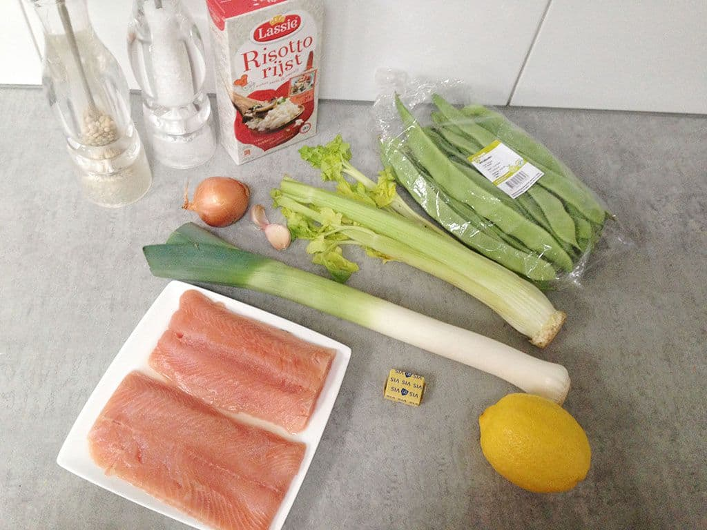 Zalm en snijbonen risotto ingredienten