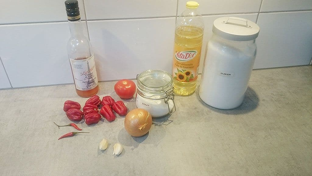 Scotch bonnet peper sambal ingrediënten - Scotch bonnet peper sambal
