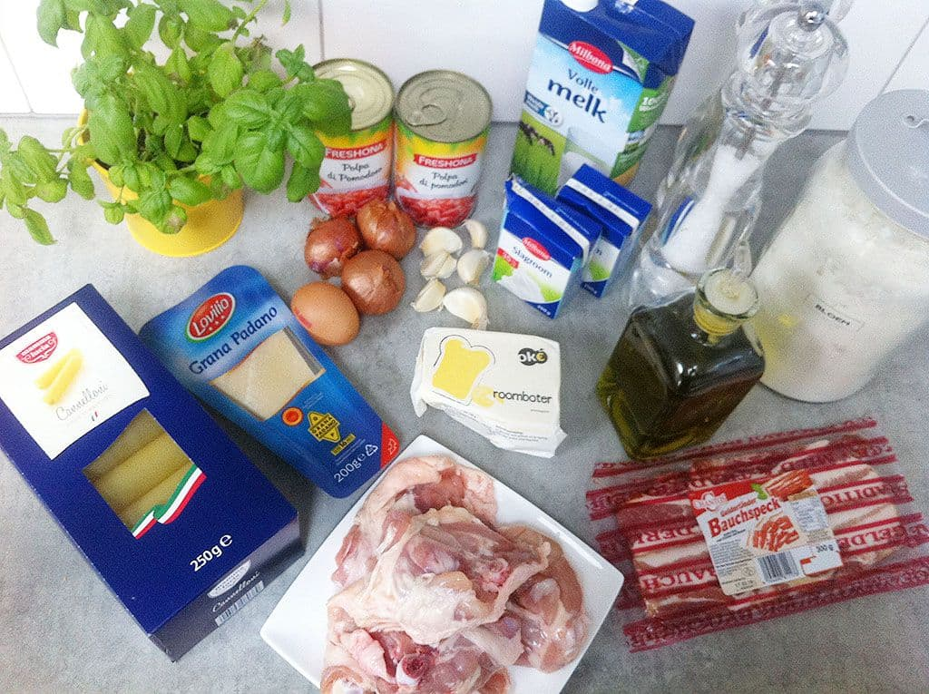Cannelloni met kippendijen ingredienten