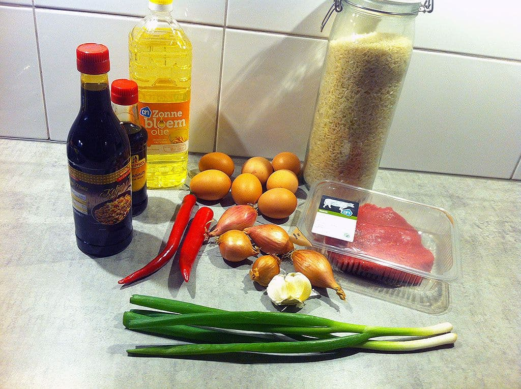 Indonesische nasi goreng ingredienten
