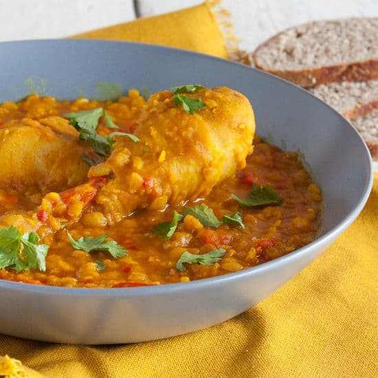 Gele spliterwten curry met kip vierkant - Gele spliterwten curry met kip