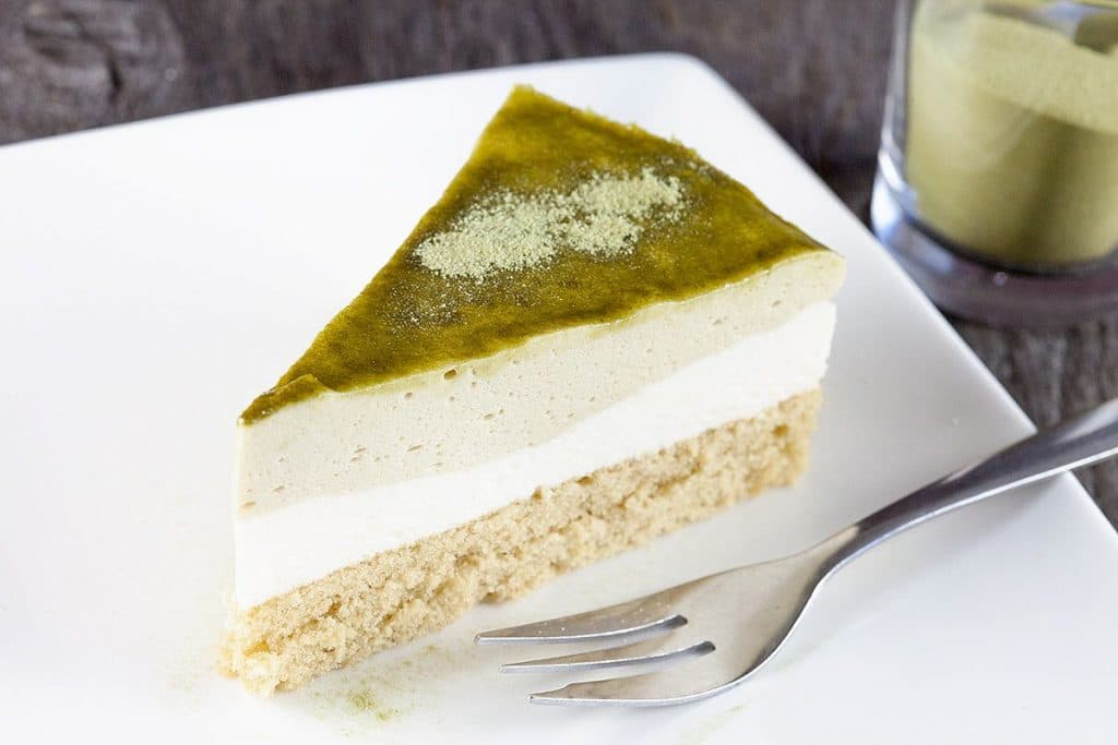 Groene thee Matcha mousse taart