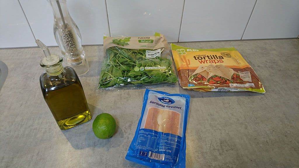 Gerookte forel wrap met limoen ingredienten