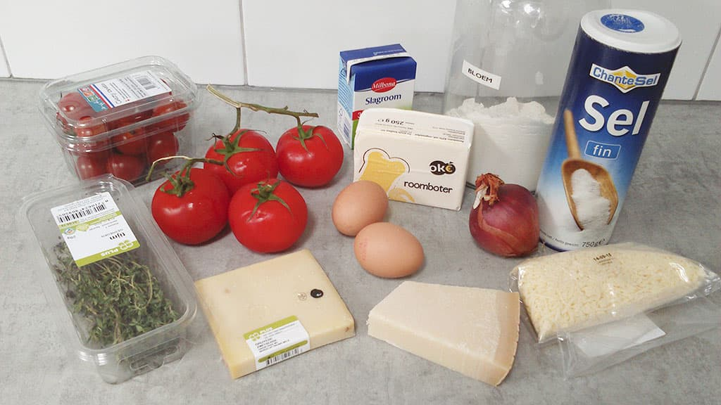 Tomatentaart ingredienten