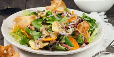 Herfstsalade met warme grove mosterddressing