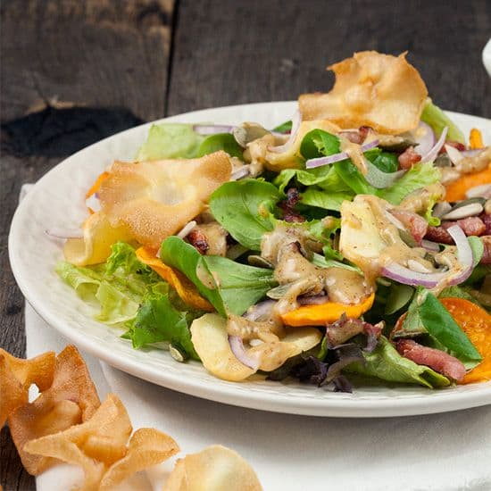 Herfstsalade met warme grove mosterddressing vierkant - Herfstsalade met warme grove mosterddressing