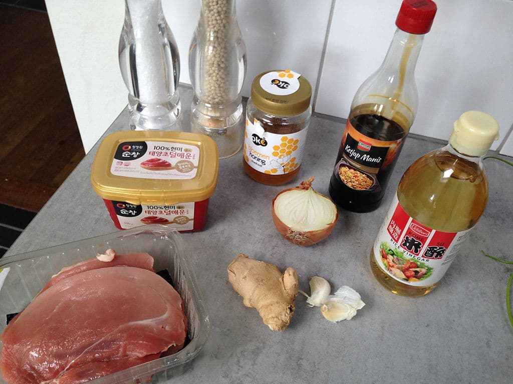 Gochujang varkensvlees ingredienten