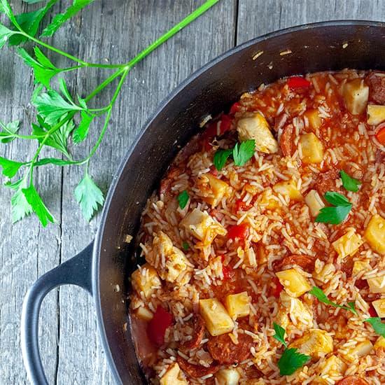 Jambalaya met chorizo en kip