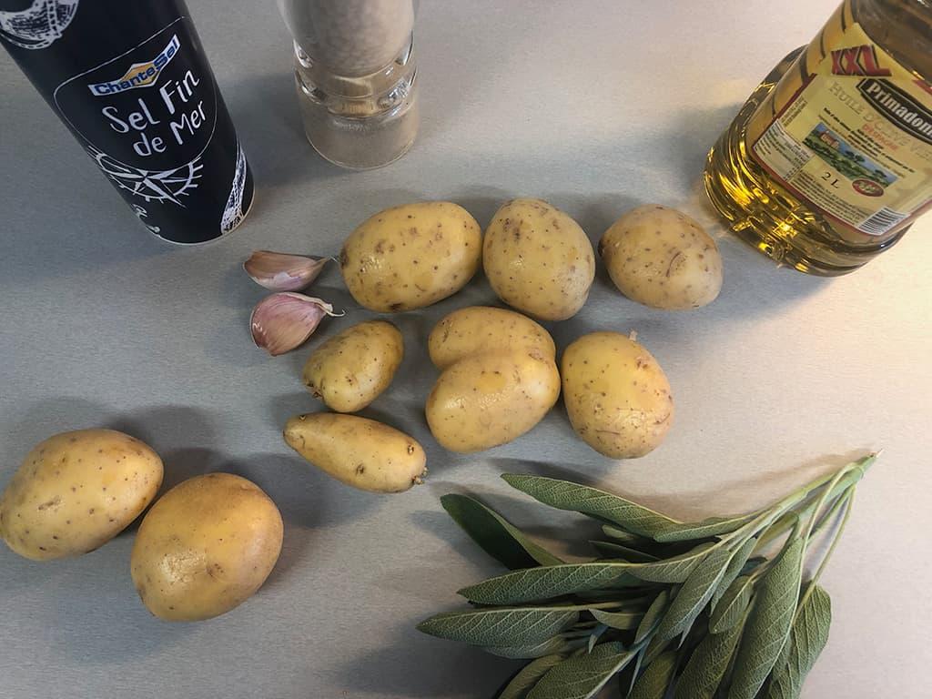 Geroosterde aardappels met salie ingrediënten